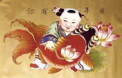Het schilderen van het jaar van China Stock Afbeelding