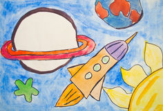 Het schilderen van het jonge geitje van heelal met planeten en sterren Royalty-vrije Stock Foto's