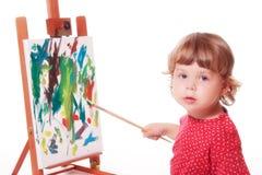 Het schilderen van het kind op schildersezel Stock Fotografie