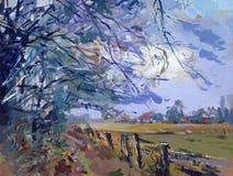 Het schilderen van het landschap Stock Afbeelding