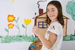 Het schilderen van het meisje Stock Foto