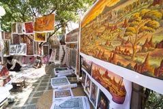 Het schilderen van het zand in Myanmar Stock Foto's