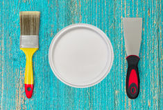 Het schilderen van hulpmiddelen voor huisvernieuwing Creatieve foto Stock Afbeeldingen