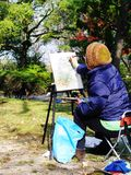 Het Schilderen van Japan Hiroshima Stock Foto's