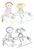 Het schilderen van kinderen Royalty-vrije Stock Foto's