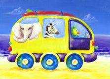 Het schilderen van kinderen van brandingsbestelwagen met exotische dieren Stock Afbeeldingen