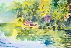 Het schilderen van landschap van het plattelandshuisje van de waterkant in het bos royalty-vrije illustratie