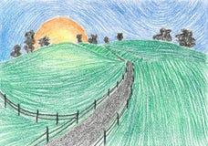 Het schilderen van Landweg bij zonsondergang Stock Afbeeldingen