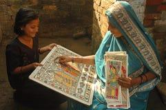 Het schilderen van Madhubani in bihar-India Stock Afbeelding