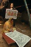 Het schilderen van Madhubani in bihar-India Stock Fotografie