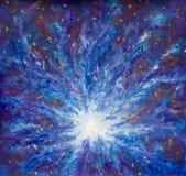 Het schilderen van Melkweg in ruimte, Blauwe kosmische gloed, schoonheid van heelal, wolk van ster, onduidelijk beeldachtergrond, stock afbeeldingen