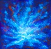 Het schilderen van Melkweg in ruimte, Blauwe kosmische gloed, schoonheid van heelal, wolk van ster, onduidelijk beeldachtergrond, stock foto's