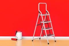 Het schilderen van muren in een rode kleurenconcept De verf kan met rol vector illustratie