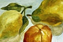 Het schilderen van peren Royalty-vrije Stock Afbeeldingen