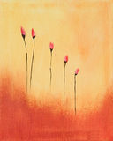 Het schilderen van rode bloemen Stock Afbeelding