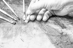 Het schilderen van samenvatting in zwart-wit Stock Foto