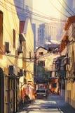 Het schilderen van smalle straat met gebouwen Royalty-vrije Stock Afbeeldingen
