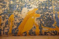 Het schilderen van Sobek en een krokodil royalty-vrije stock foto's