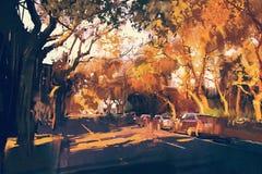 Het schilderen van stadsstraat in de herfst Stock Afbeeldingen