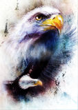 Het schilderen van twee adelaars één die zijn zwarte vleugels uitrekken om, op abstracte kleurenachtergrond te vliegen stock illustratie