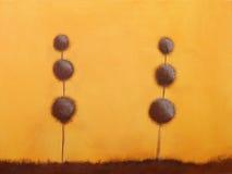 Het schilderen van van 2 bomen stock afbeelding