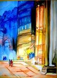 Het schilderen van Varanasi Ghat Glimps stock afbeelding