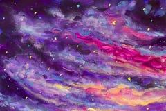 Het schilderen van violette bergen en eilanden, vegetatie, dageraad, abstract landschap, mystieke aard, post-apocalyps, zonsonder vector illustratie