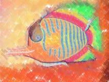 Het schilderen van vissen royalty-vrije illustratie