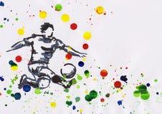 Het schilderen van voetballer in actie met verfplonsen vector illustratie
