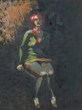 Het schilderen van vrouwenzitting in dark Royalty-vrije Stock Foto's