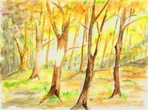 Het schilderen van Watercolour van bomen. Royalty-vrije Stock Afbeeldingen