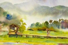 Het schilderen van waterverflandschap van gelukkige familie in ochtend stock illustratie