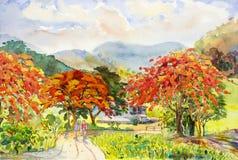 Het schilderen van waterverflandschap van Pauwbloemen, en meisjes, mens, Royalty-vrije Stock Afbeeldingen