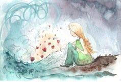 Het schilderen verwezenlijking van meisjeswensen in liefde Stock Foto's