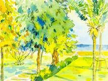 Het schilderen zeegezicht kleurrijk van overzees en groene tuin en emotie stock illustratie