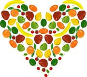Het schilderende fruithart, gele bananen, citroenen, rode appelen, koestert, aardbei, groene kalk op wit Stock Afbeelding