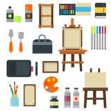 Het schilderende van het het paletpictogram van kunsthulpmiddelen van de illustratiedetails vastgestelde vlakke vectormateriaal v Royalty-vrije Stock Afbeeldingen