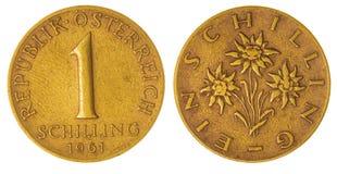 1 het schilling muntstuk van 1961 dat op witte achtergrond, Oostenrijk wordt geïsoleerd Stock Foto's