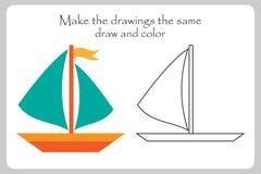 Het schip in beeldverhaalstijl, maakt tot de tekeningen dezelfde, kleurende pagina, onderwijsdocument spel voor de ontwikkeling v stock illustratie