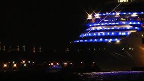 Het Schip bij Nacht stock videobeelden