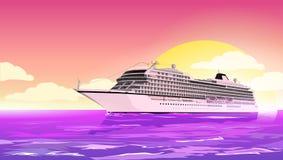 Het schip Costa Luminosa van de cruise De affiche van de vakantiereis Vector illustratie Royalty-vrije Stock Foto's