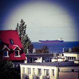 Het schip in de Golf van Gdansk Royalty-vrije Stock Afbeelding