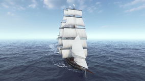 Het schip die in ruwe overzeese luchtmening varen en sluit omhoog