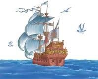 Het schip met zeilen Stock Foto