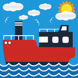 Het schip op zee mening van de lijnbootboot in dag met grote zon en golf Stock Afbeeldingen