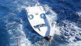 Het schip sleept de boot stock videobeelden