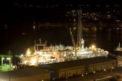 Het Schip van de container bij Nacht stock afbeelding