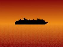 Het Schip van de cruise bij Zonsondergang vector illustratie
