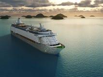 Het schip van de cruise in het overzees vector illustratie