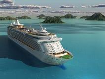 Het schip van de cruise in het overzees stock illustratie